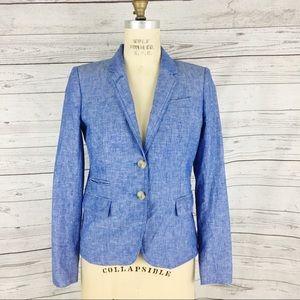 J. Crew Schoolboy crosshatch linen blazer